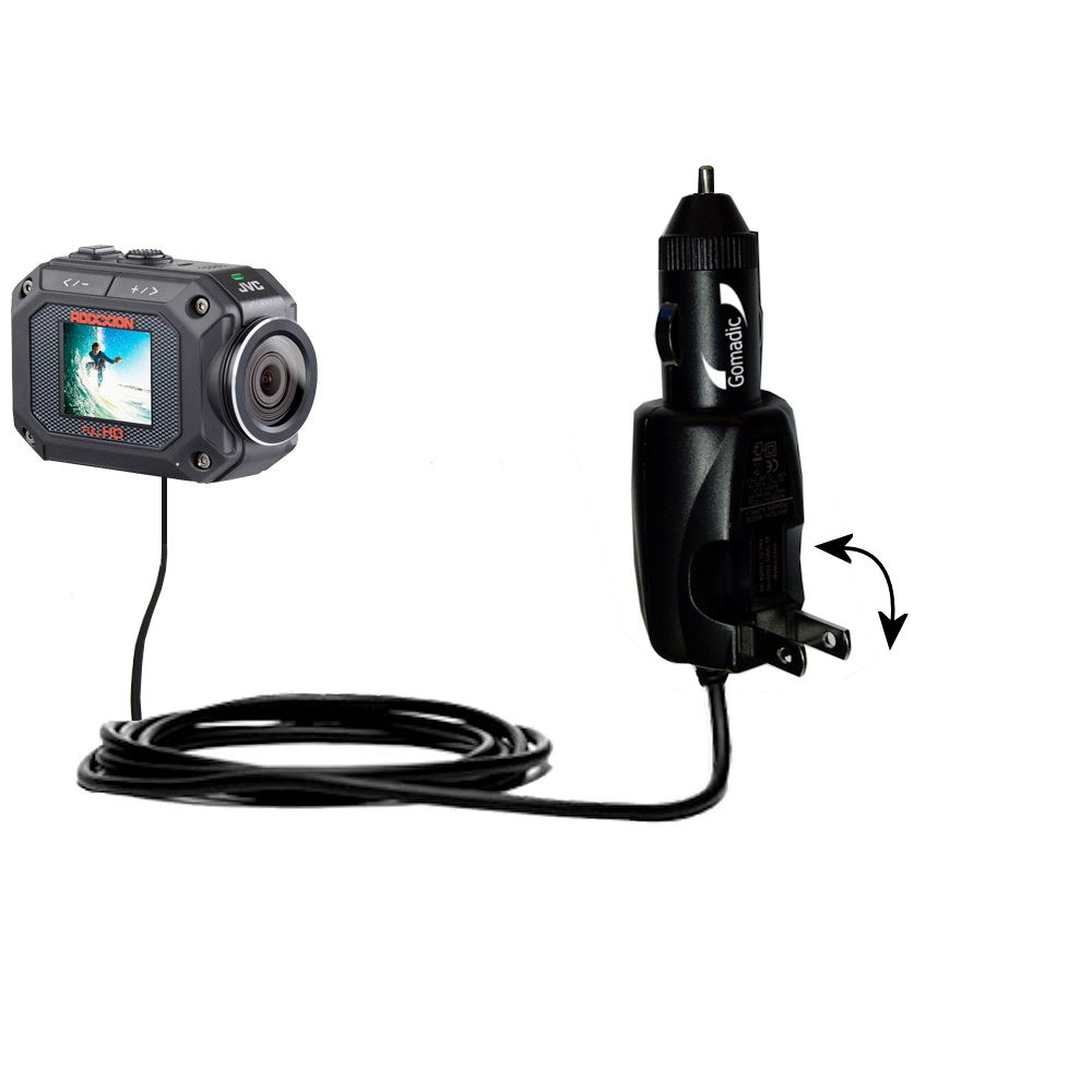 Car & Home 2 in 1 Charger compatible with the JVC GC-XA2 Action Camera