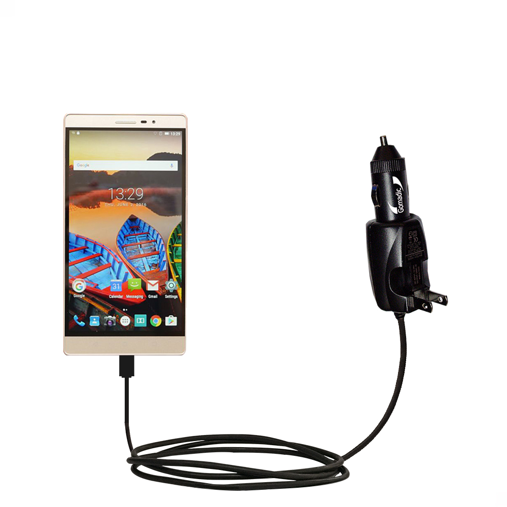 Car & Home 2 in 1 Charger compatible with the Lenovo PHAB 2 Pro