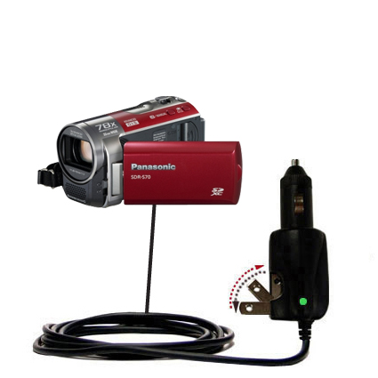 Car & Home 2 in 1 Charger compatible with the Panasonic SDR-570 Camcorder
