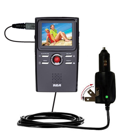 Car & Home 2 in 1 Charger compatible with the RCA EZ2000 Small Wonder HD Camcorder