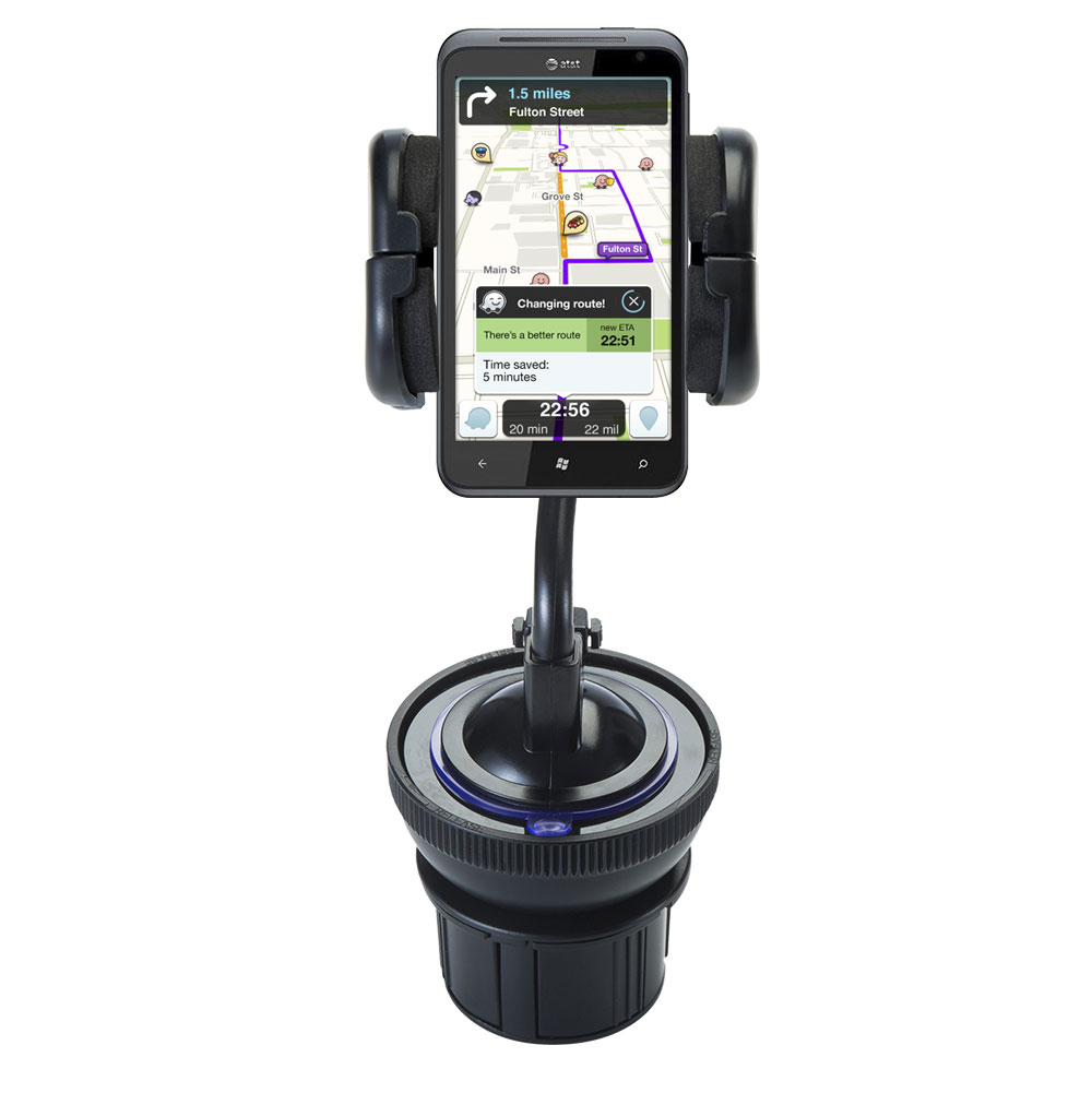 Unique Auto Cupholder and Suction Windshield Dual Purpose Mounting System for HTC Eternity - Flexible Holder System Includes Two Mount Options
