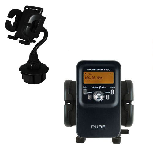 Gomadic Brand Car Auto Cup Holder Mount suitable for the PURE PocketDAB 1500 - Attaches to your vehicle cupholder