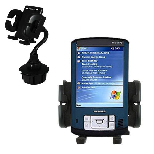 Gomadic Brand Car Auto Cup Holder Mount suitable for the Toshiba e805 - Attaches to your vehicle cupholder