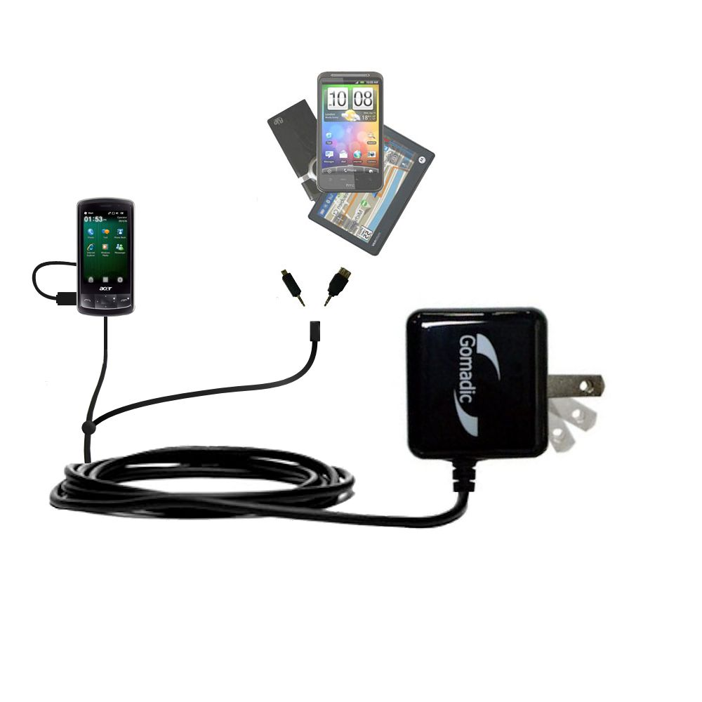 Double Wall Home Charger with tips including compatible with the Acer beTouch E200 E210
