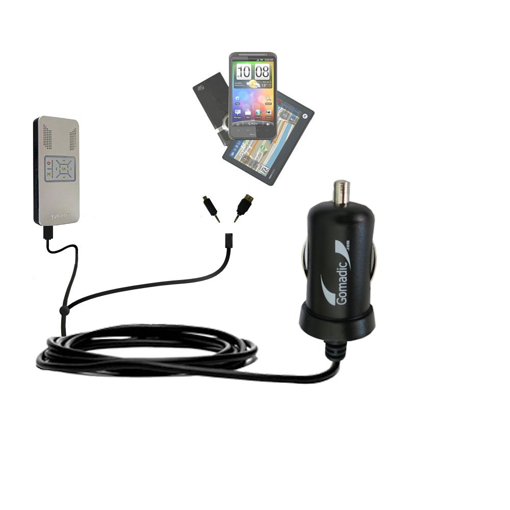 mini Double Car Charger with tips including compatible with the Aiptek PocketCinema v50
