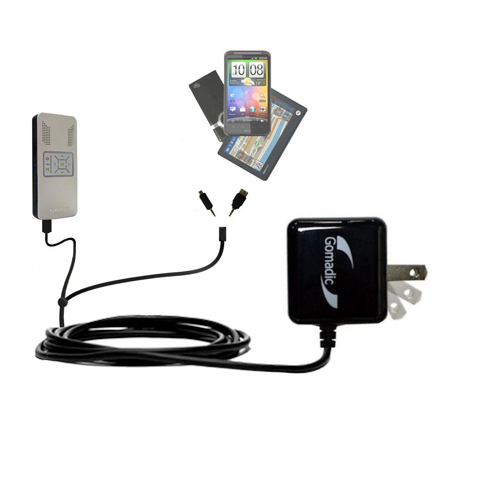 Double Wall Home Charger with tips including compatible with the Aiptek PocketCinema v50