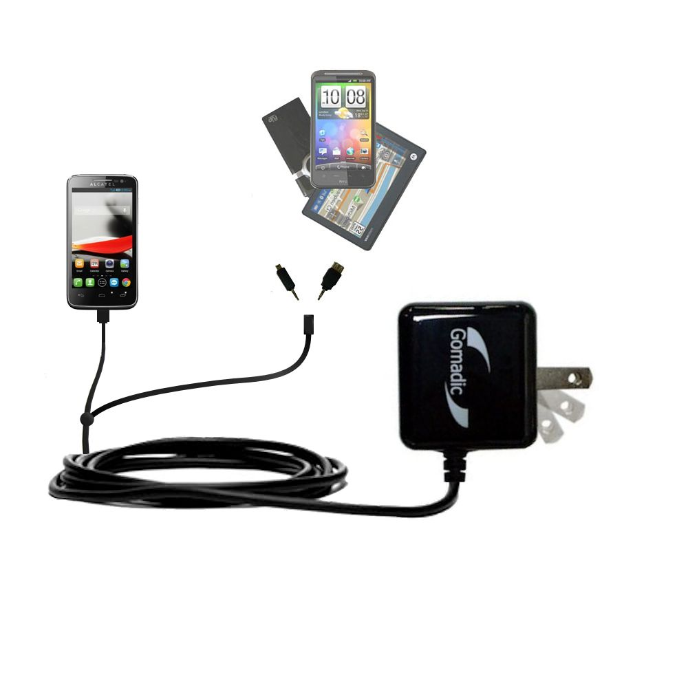 Double Wall Home Charger with tips including compatible with the Alcatel One Touch Fierce