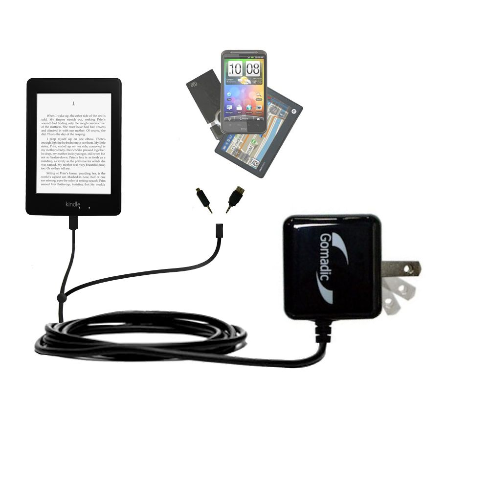 Double Wall Home Charger with tips including compatible with the Amazon Kindle Paperwhite