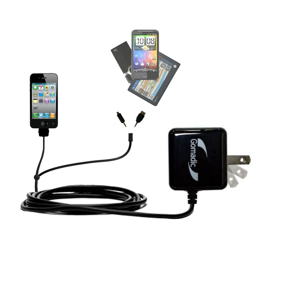 Double Wall Home Charger with tips including compatible with the Apple iPhone 4