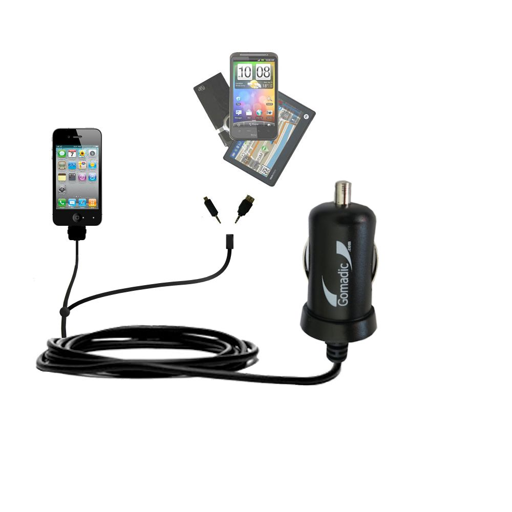 mini Double Car Charger with tips including compatible with the Apple iPhone