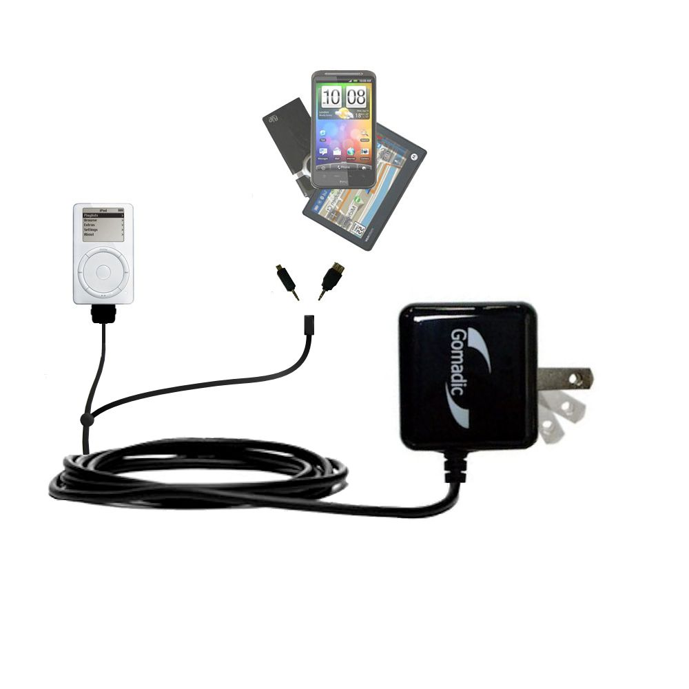 Double Wall Home Charger with tips including compatible with the Apple iPod 5G Video (60GB)