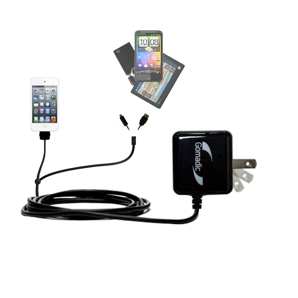 Double Wall Home Charger with tips including compatible with the Apple iPod touch