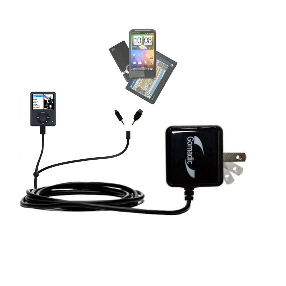 Double Wall Home Charger with tips including compatible with the Apple Nano Video Gen 3