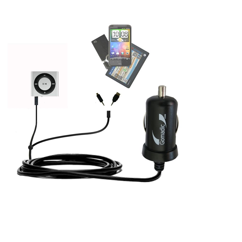 mini Double Car Charger with tips including compatible with the Apple Shuffle