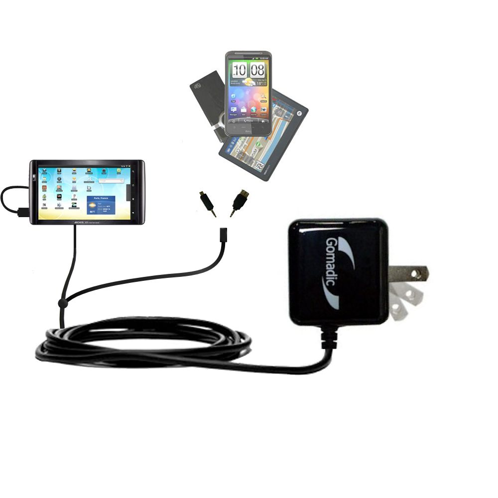 Double Wall Home Charger with tips including compatible with the Archos 101 Internet Tablet