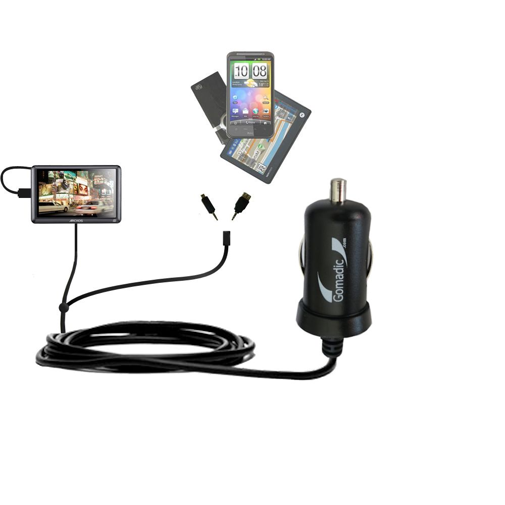 mini Double Car Charger with tips including compatible with the Archos 50b Vision