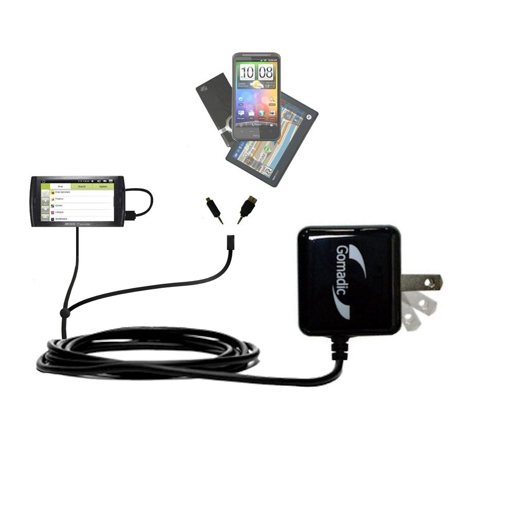 Double Wall Home Charger with tips including compatible with the Archos 7 Home Tablet with Android