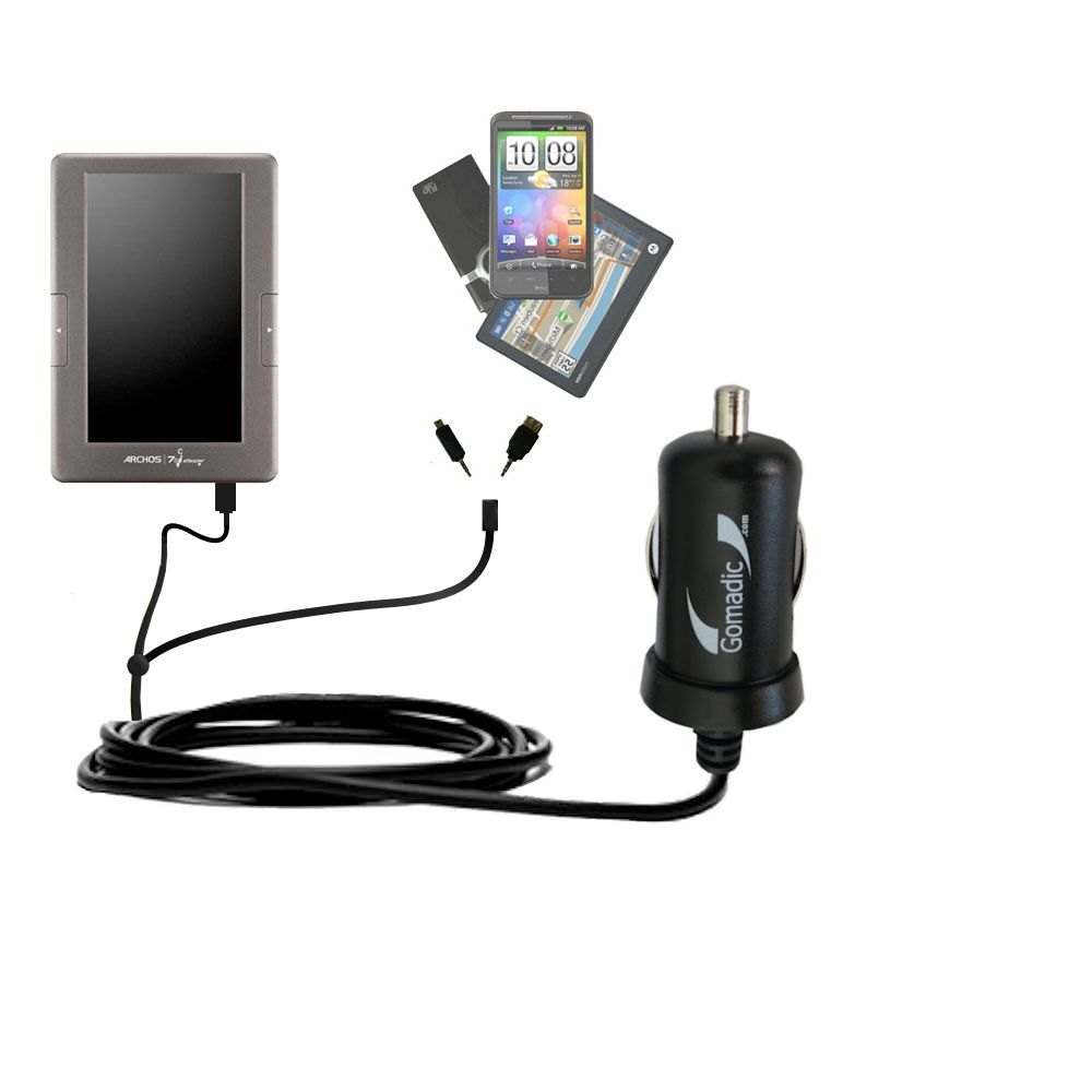mini Double Car Charger with tips including compatible with the Archos 70c eReader