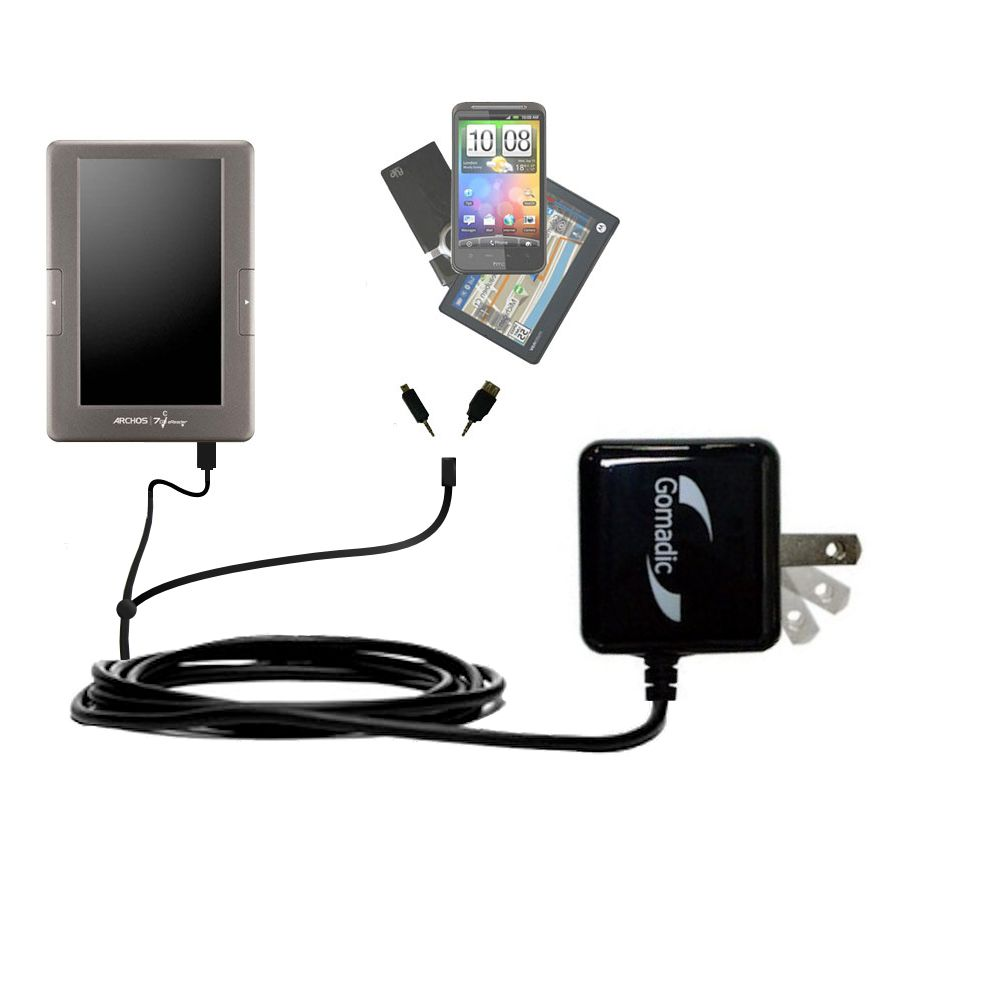 Double Wall Home Charger with tips including compatible with the Archos 70c eReader