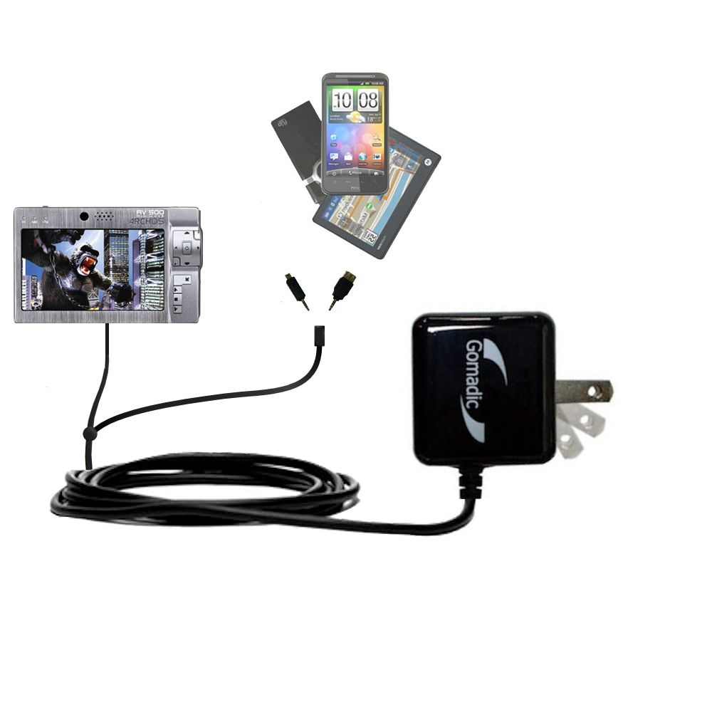 Double Wall Home Charger with tips including compatible with the Archos AV500 Series