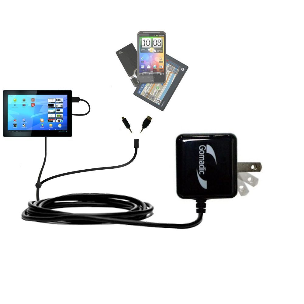 Double Wall Home Charger with tips including compatible with the Archos Familypad 2