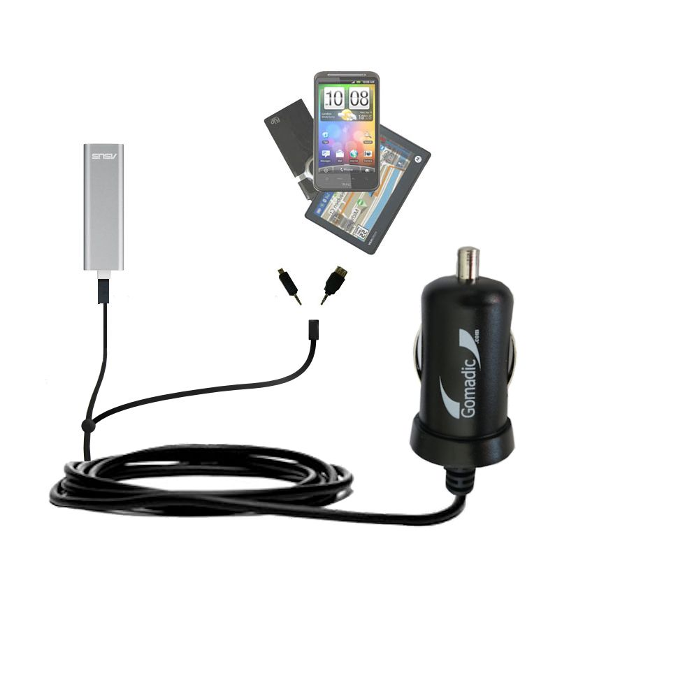 mini Double Car Charger with tips including compatible with the Asus WL-330NUL