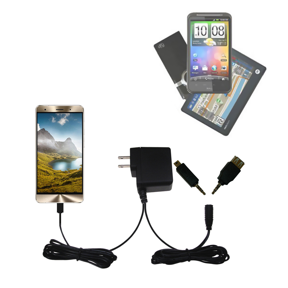 Double Wall Home Charger with tips including compatible with the Asus Zenfone 3 Deluxe