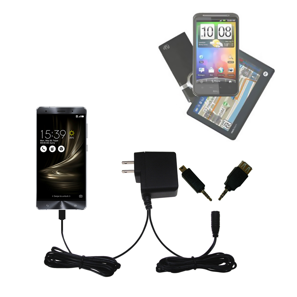 Double Wall Home Charger with tips including compatible with the Asus Zenfone 3