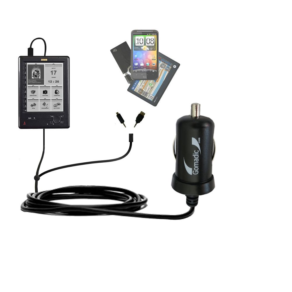 mini Double Car Charger with tips including compatible with the Azbooka N516
