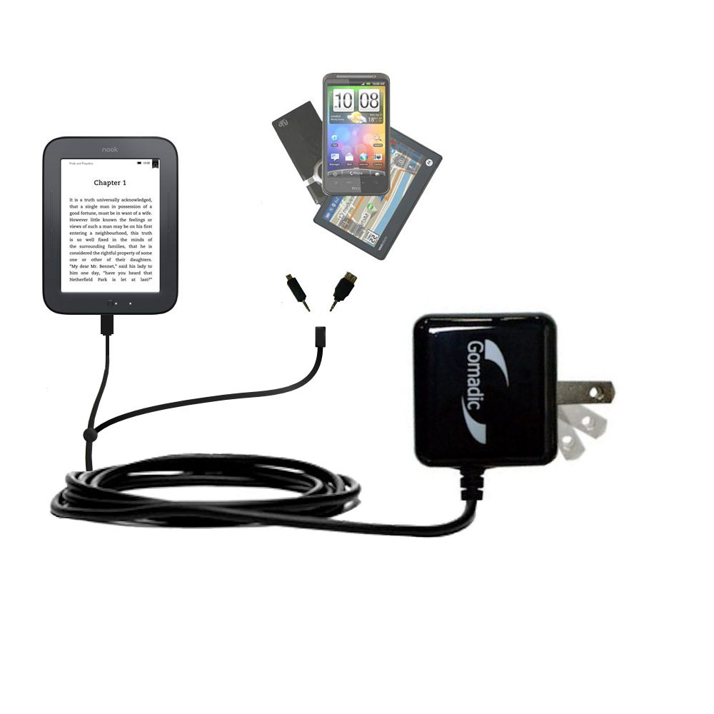 Double Wall Home Charger with tips including compatible with the Barnes and Noble nook Original eBook eReader
