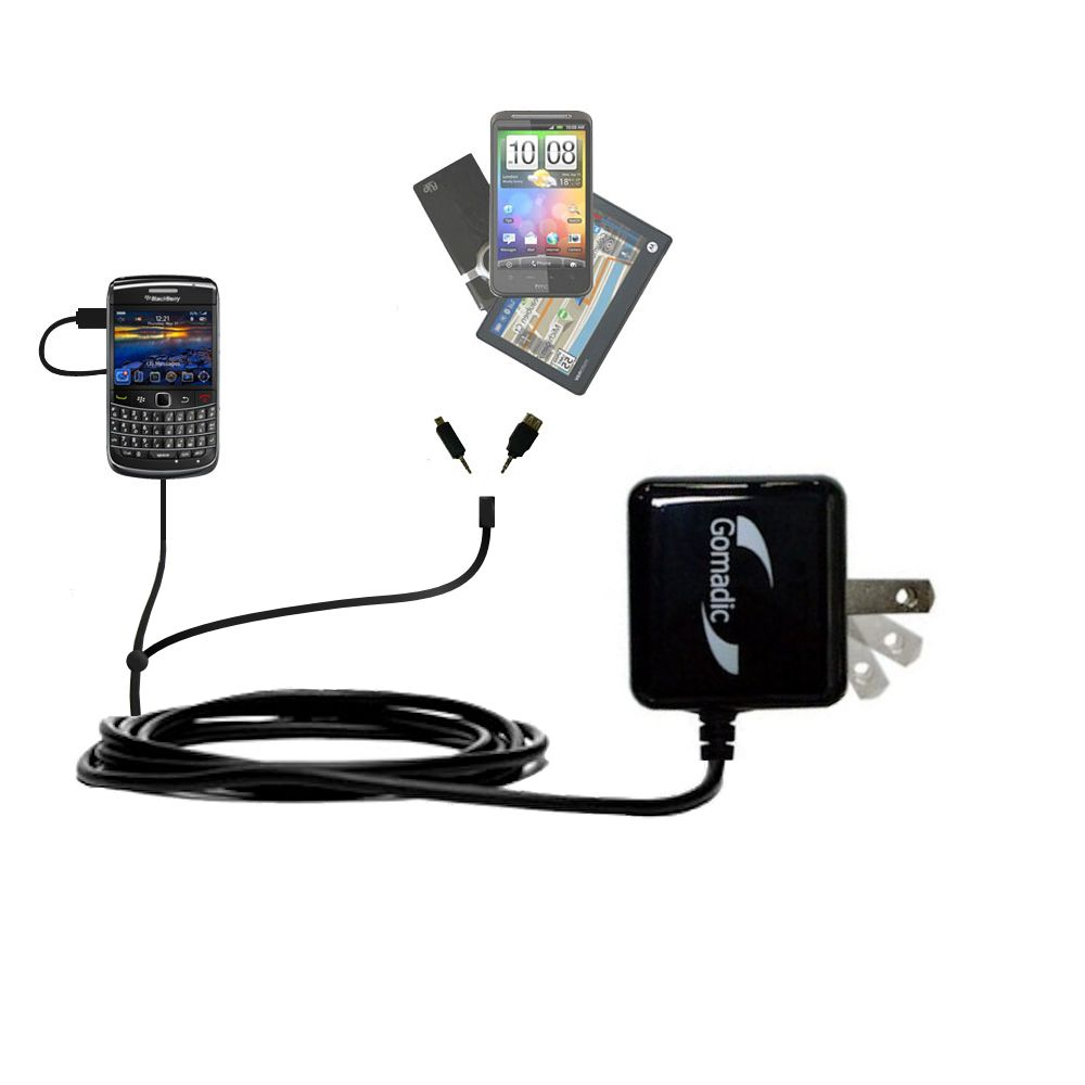 Double Wall Home Charger with tips including compatible with the Blackberry Bold 9650