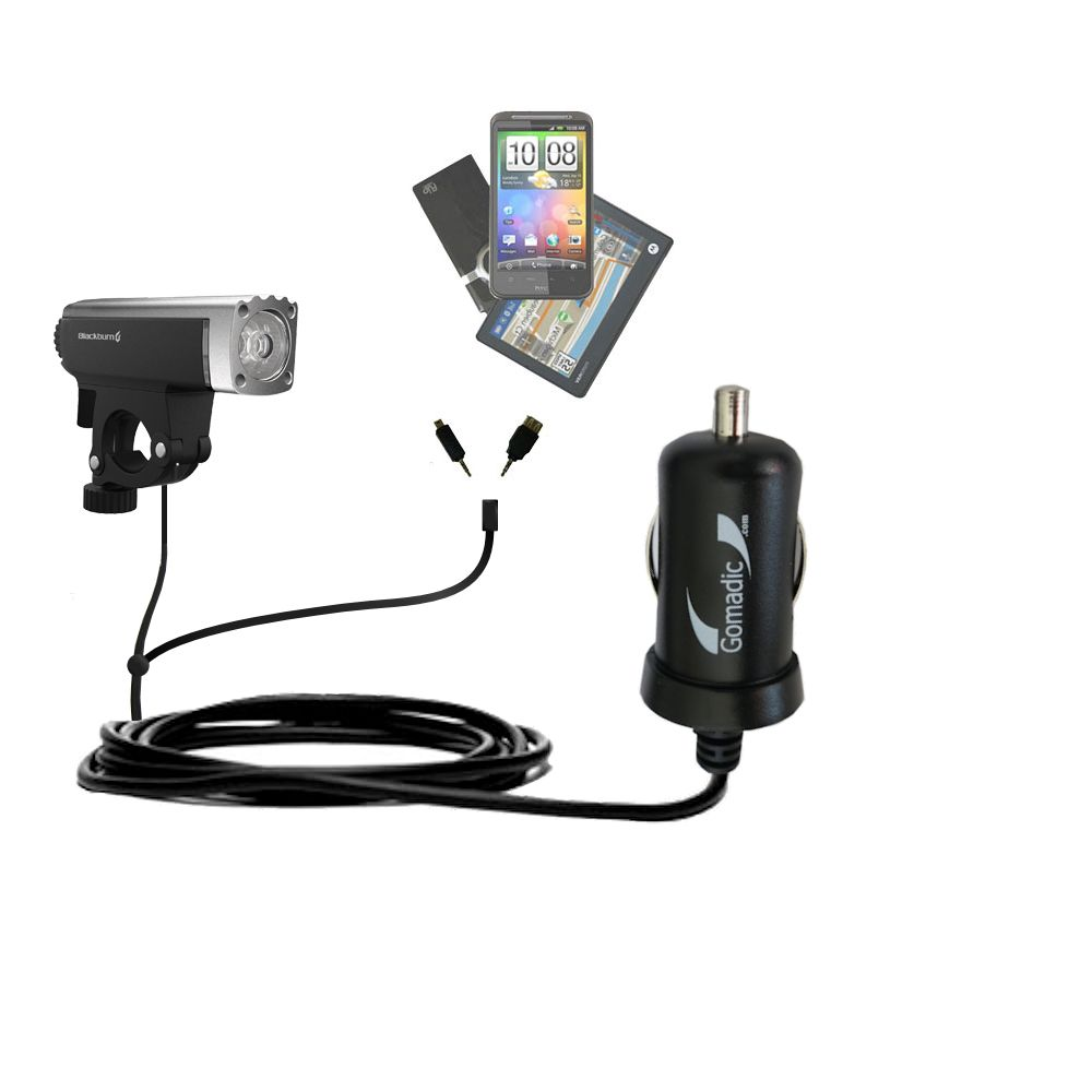 mini Double Car Charger with tips including compatible with the Blackburn Central Front