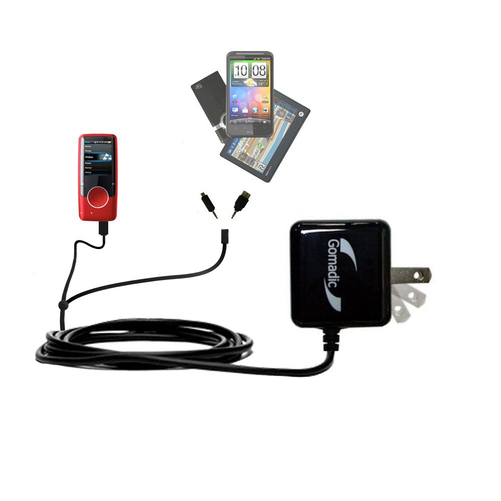 Double Wall Home Charger with tips including compatible with the Coby MP620 Video MP3 Player