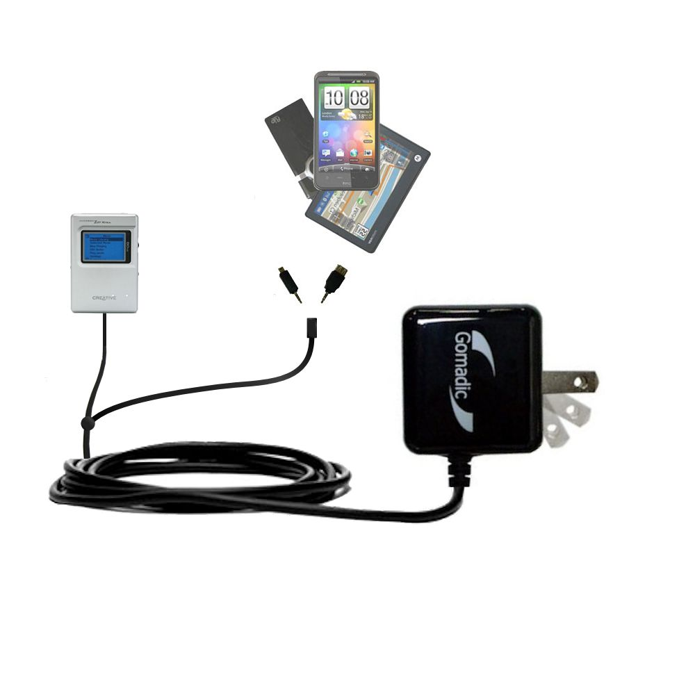 Double Wall Home Charger with tips including compatible with the Creative Jukebox Zen NX
