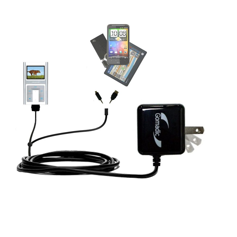 Double Wall Home Charger with tips including compatible with the Creative Zen Sleek Photo
