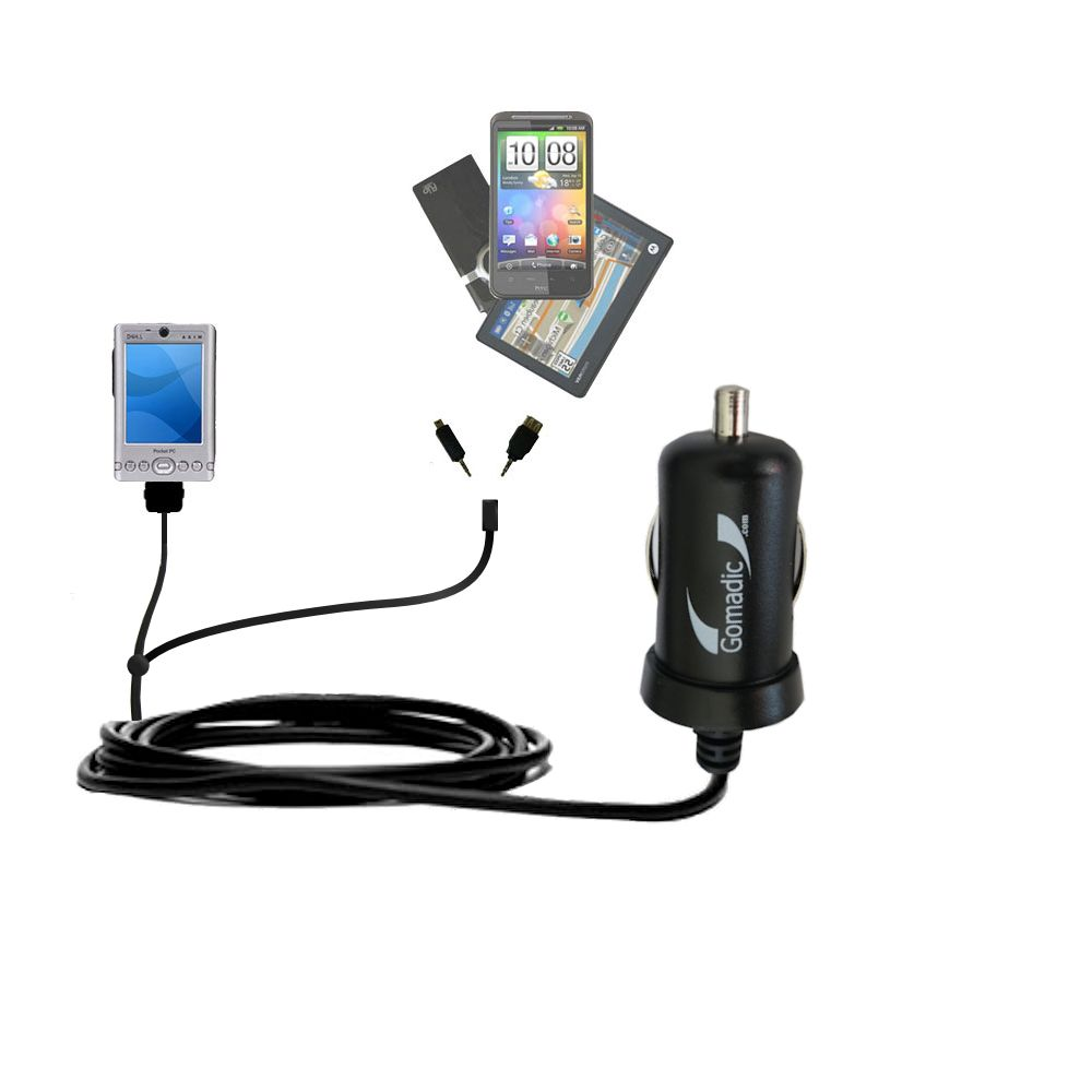 mini Double Car Charger with tips including compatible with the Dell Axim x3 x3i