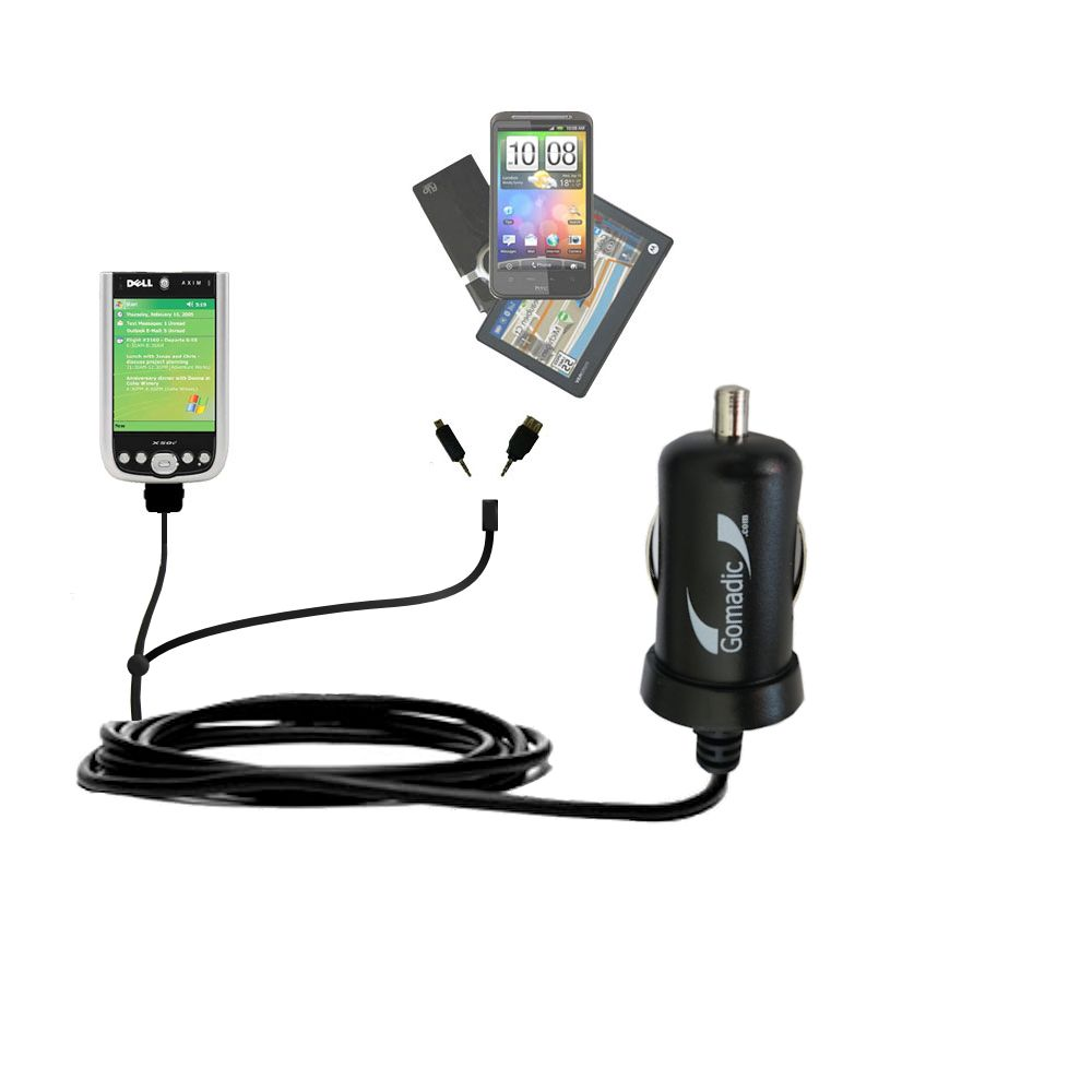 mini Double Car Charger with tips including compatible with the Dell Axim X50 X50v