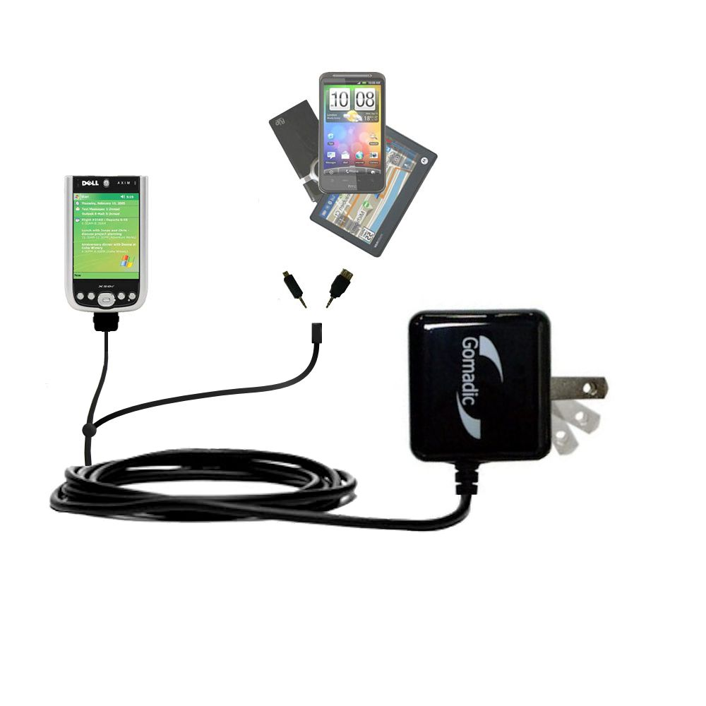 Double Wall Home Charger with tips including compatible with the Dell Axim X50 X50v