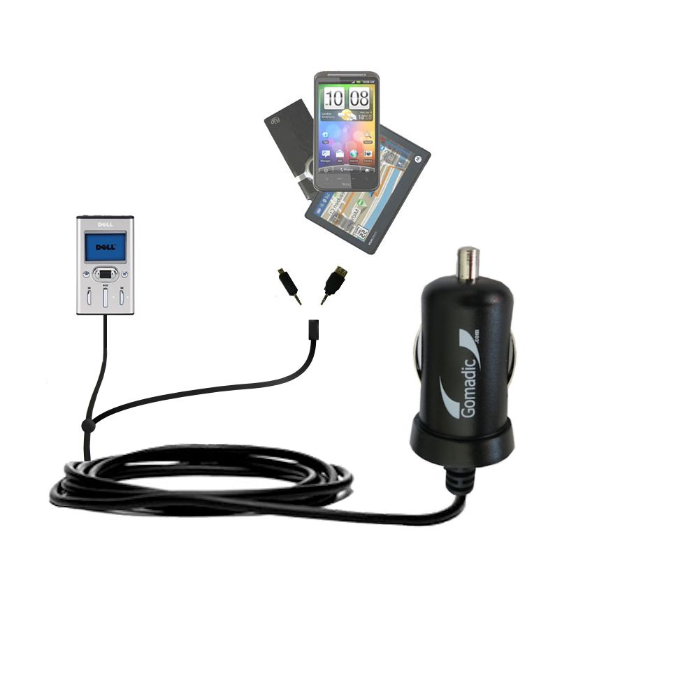 mini Double Car Charger with tips including compatible with the Dell Pocket DJ 15GB