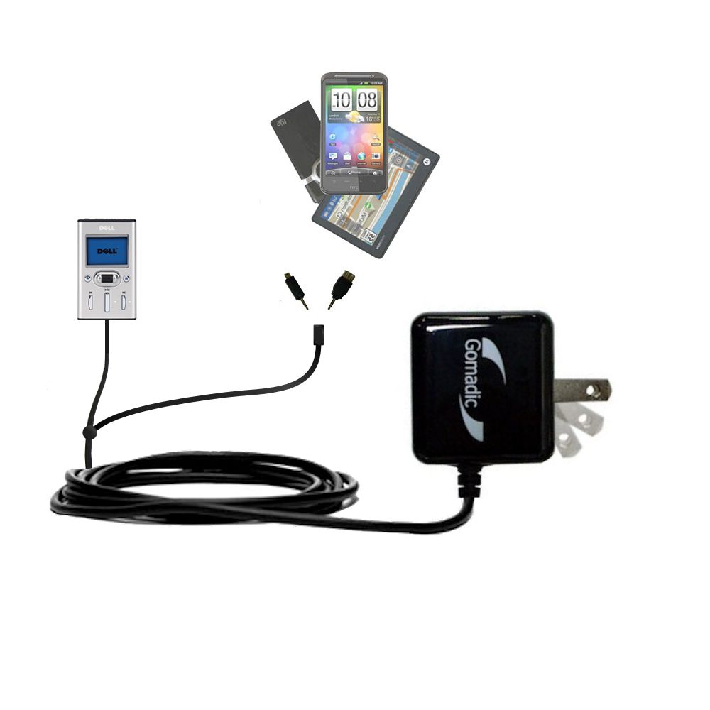 Double Wall Home Charger with tips including compatible with the Dell Pocket DJ 15GB