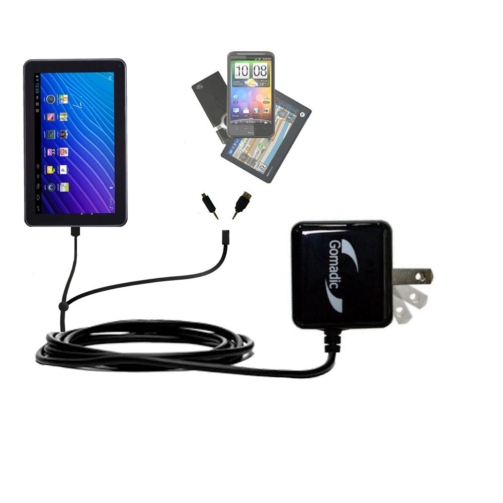 Double Wall Home Charger with tips including compatible with the Double Power DOPO GS-918 9 inch tablet