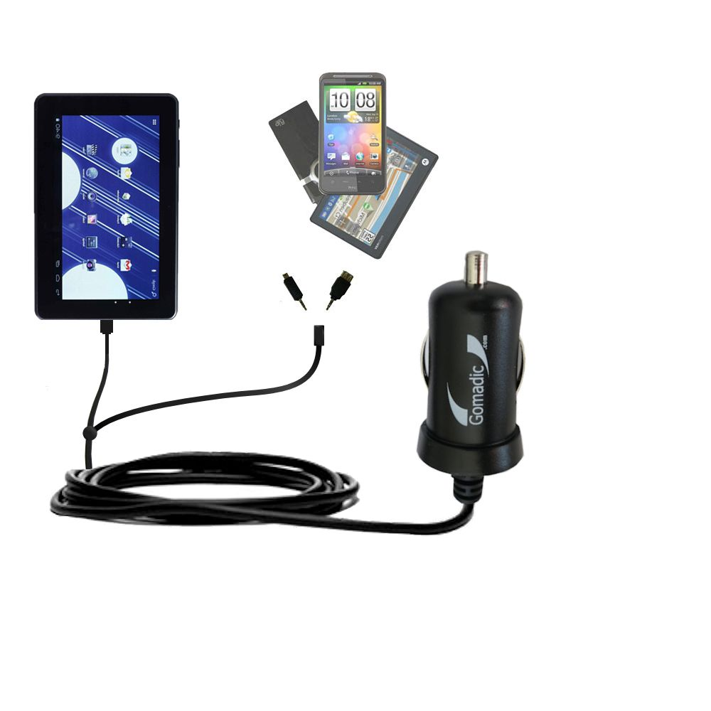 mini Double Car Charger with tips including compatible with the Double Power M7088 7 inch tablet