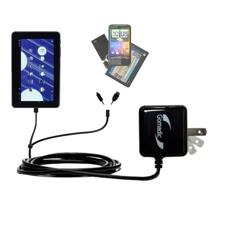 Double Wall Home Charger with tips including compatible with the Double Power M7088 7 inch tablet