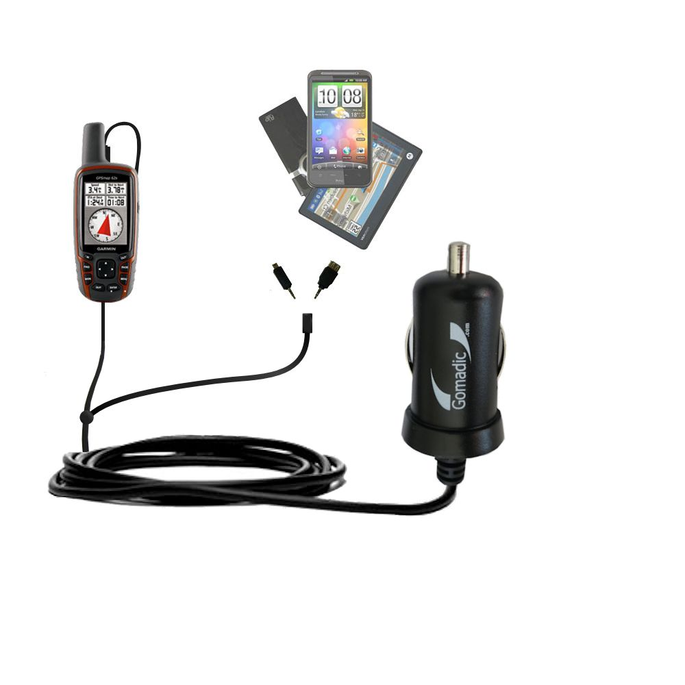 mini Double Car Charger with tips including compatible with the Garmin  GPSMap 62