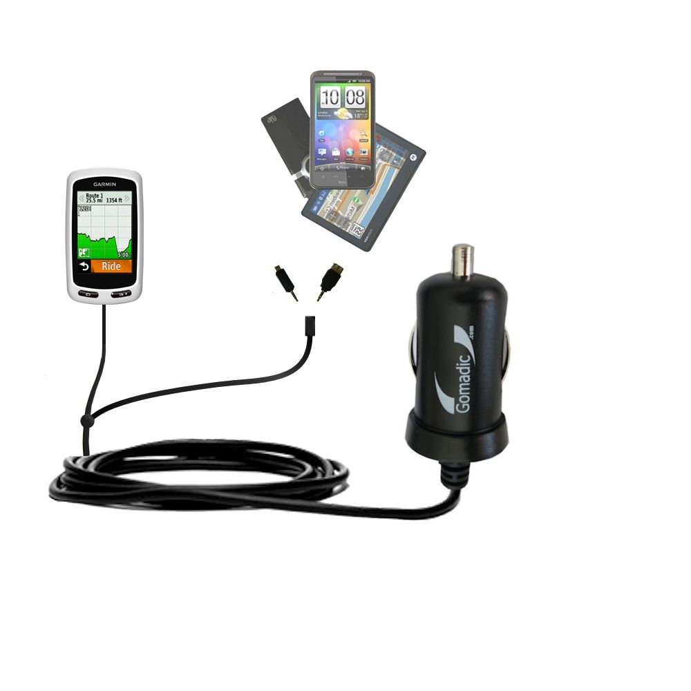 mini Double Car Charger with tips including compatible with the Garmin Edge 1000