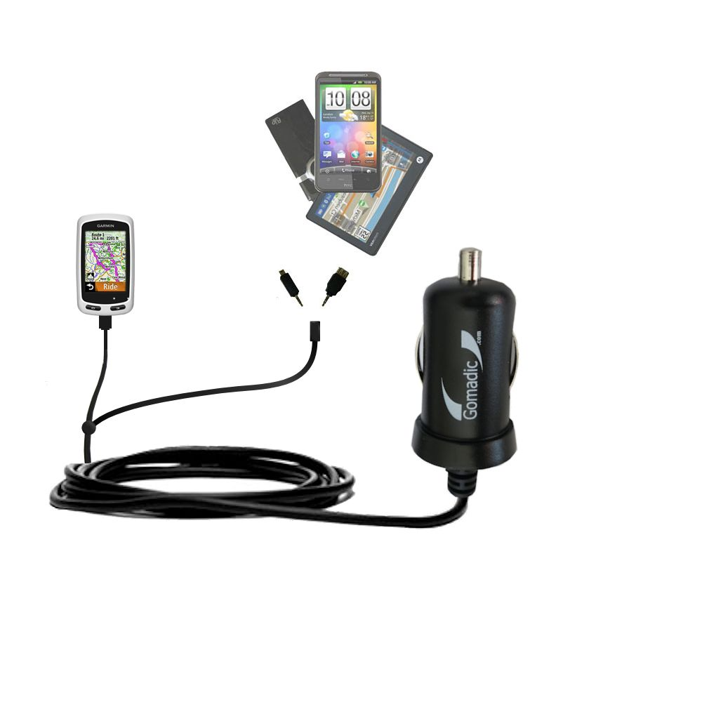 mini Double Car Charger with tips including compatible with the Garmin EDGE Touring