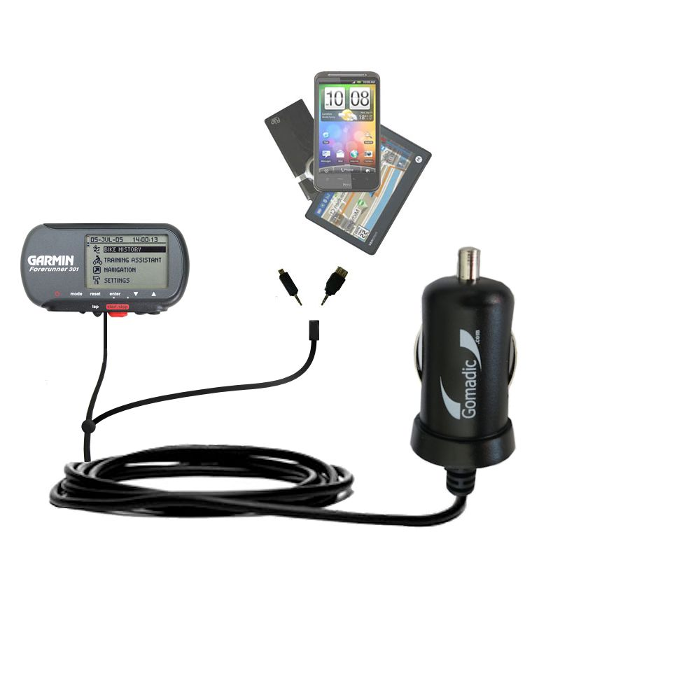 mini Double Car Charger with tips including compatible with the Garmin Forerunner 301
