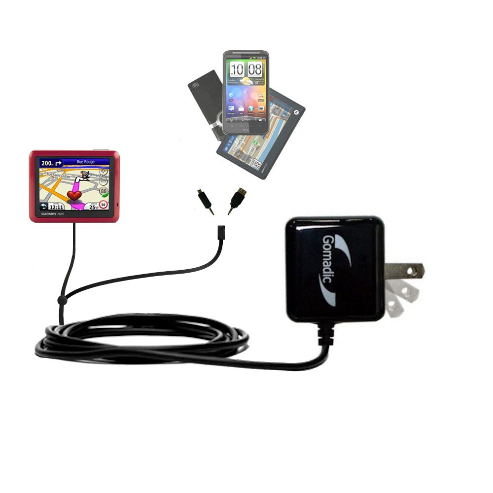 Double Wall Home Charger with tips including compatible with the Garmin Nuvi 1245 City Chic