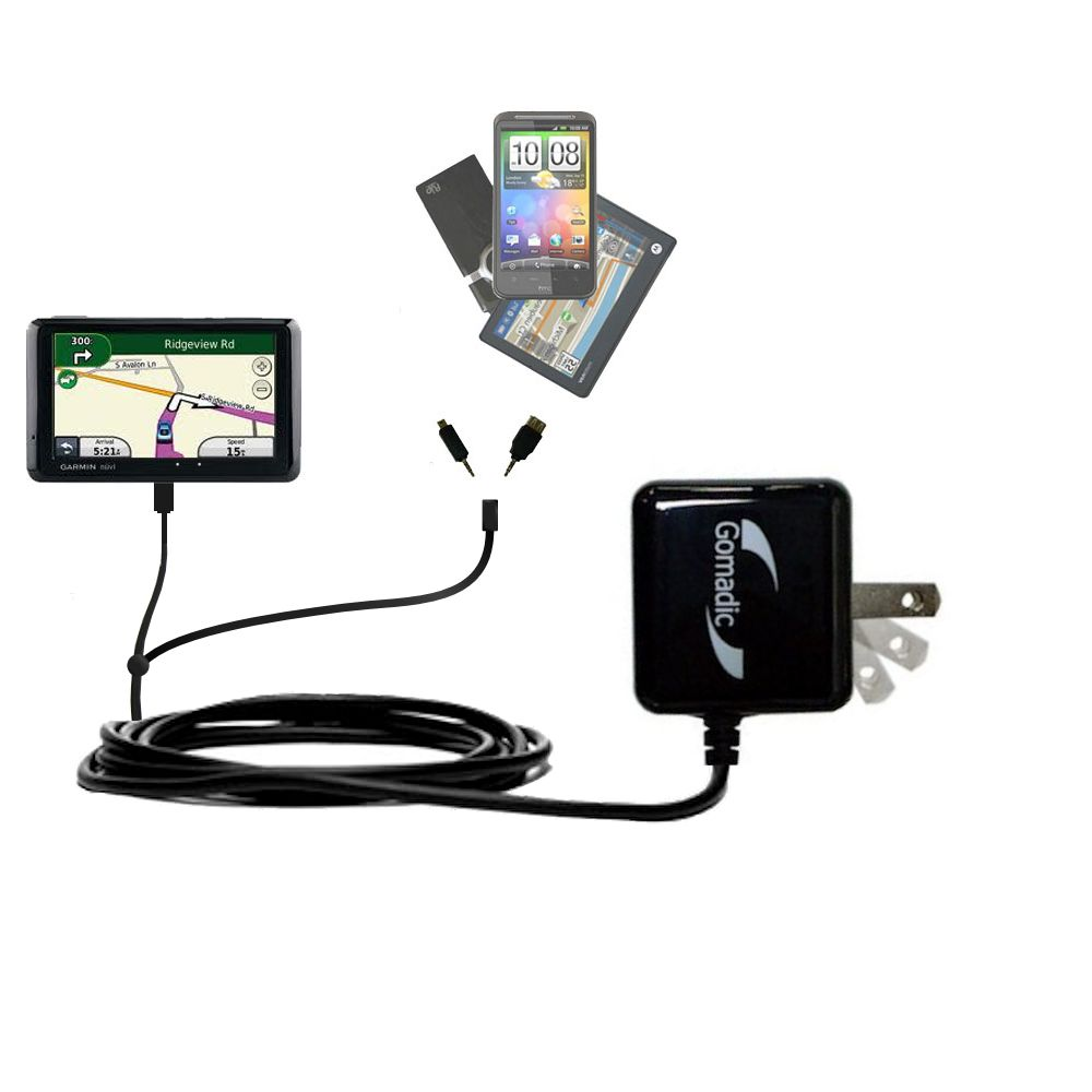 Double Wall Home Charger with tips including compatible with the Garmin Nuvi 1370T