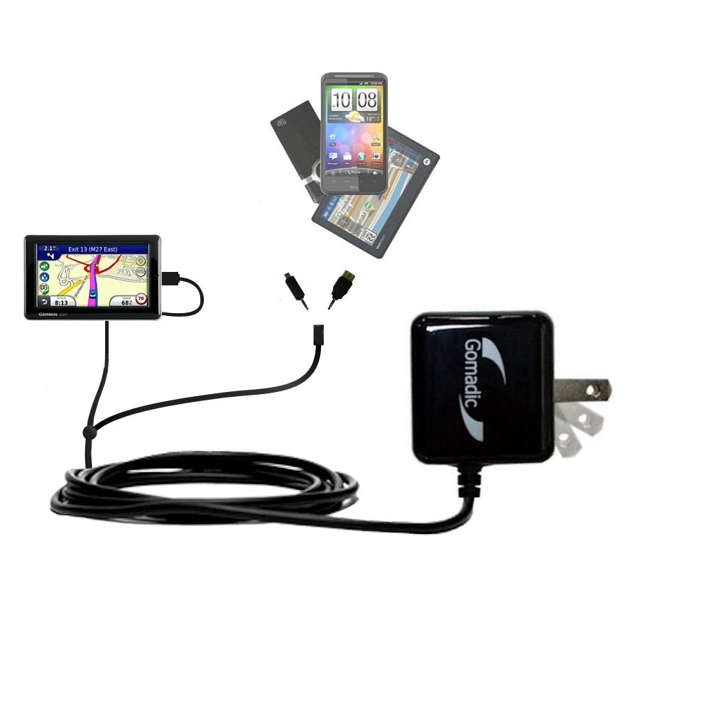 Double Wall Home Charger with tips including compatible with the Garmin Nuvi 1695